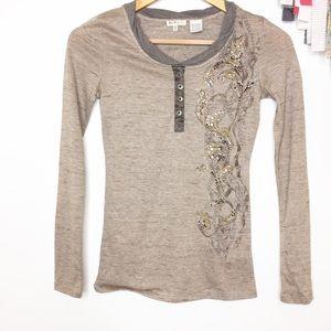 Miss Me girls long sleeved Henley T-shirt medium